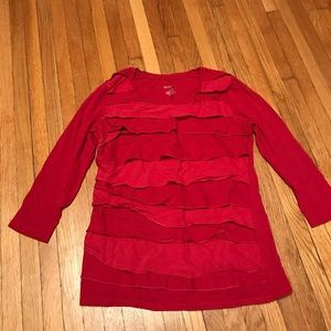 Tissue Tee w/ Layered Ruffle Front, 3/4 Sleeves